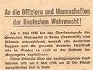 Letáky, které shazovala letadla Rudé armády 8.května 1945.Psalo sev nich o...