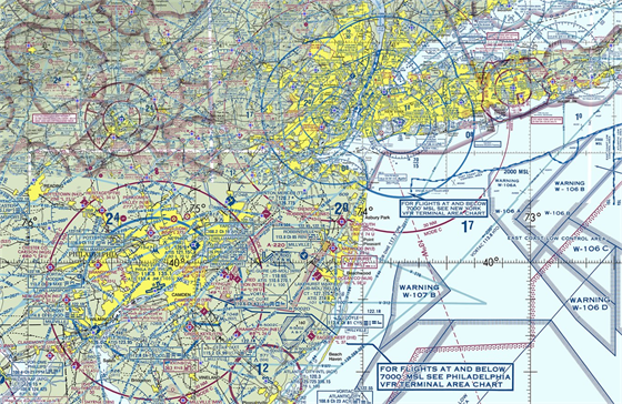 VFR (Visual Flight Chart) mapa zachycující New York a Philadelphii