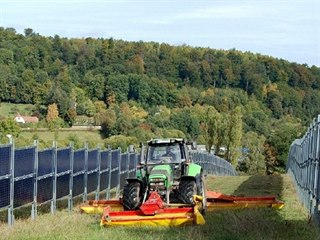 Mezi panely mohou zemědělci normálně hospodařit.