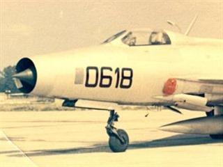 MiG-21F trupového čísla 0618 s nímž v Olomouci tragicky havaroval kadet Omran...