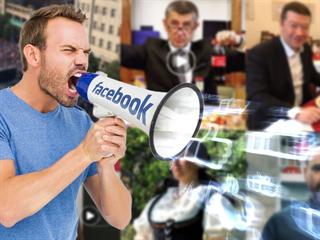 Politická reklama na Facebooku (ilustrační montáž)