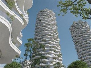 Vítězný návrh rozvlněné věže architektky Evy Jiřičné.