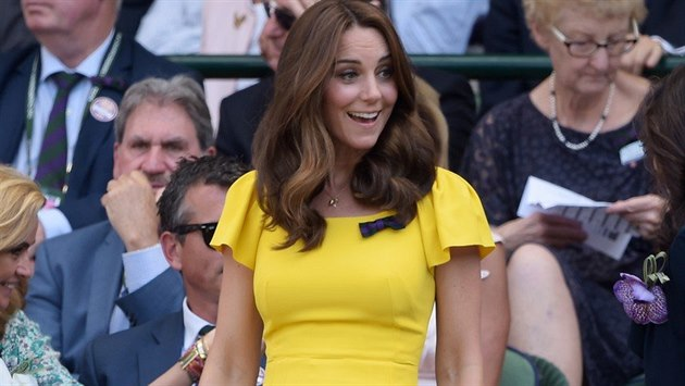 The Duchess of Cambridge in the Royal Box of Centre Court watching Novak...