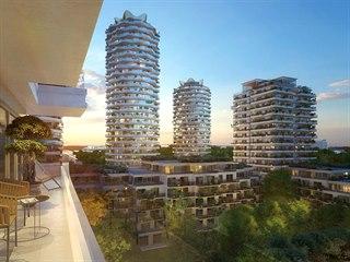 Tři vysoké kruhové věže s vlnícími se balkony má podle návrhu Jiřičné doplnit...