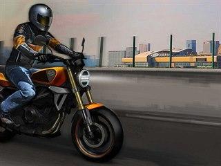 Vizualizace malého stroje Harley-Davidson