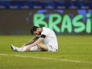 Argentinský kapitán Lionel Messi během duelu proti Paraguayi.