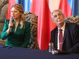Slovenská prezidentka Zuzana Čaputová s Milošem Zemanem