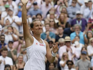 Radost Barbory Strýcové po postupu do semifinále Wimbledonu.