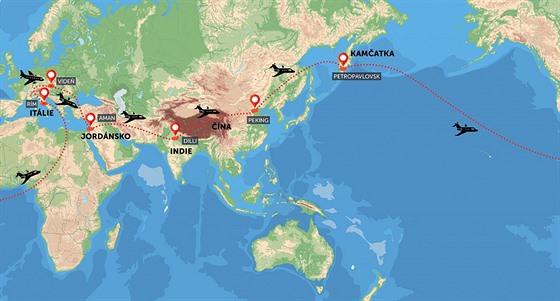 Mapa cesty kolem světa a sedm divů světa
