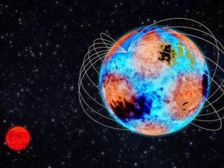 """""""Zlobivá"""" hvězda HD 99458 tvoří s hvězdou typu červený trpaslík dvojhvězdný..."""