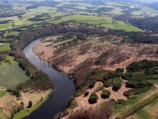 Zdevastované lesy v okolí Želivky. Tmavou barvu mají usychající borovice.