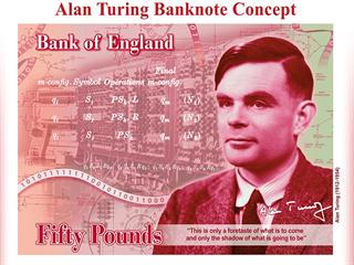 Na nové padesátilibrové bankovce je zobrazen matematik Alan Turing, který se...