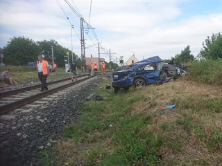 Nehoda na přejezdu u Hořetic na Lounsku (16. července 2019)
