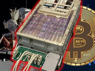 Těžba bitcoinů na počítači Apollo Guidance Computer (ilustrační montáž)