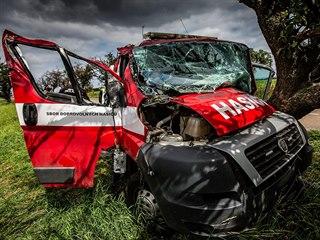 Nehoda hasičského vozu o obce Nahořany (16.7.2019).