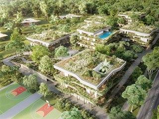 """Vizualizace: viladomy """"zeleného města"""" se budou skrývat v zeleni."""