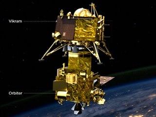 Indická vesmírná loď Čandrájan-2 obsahuje přistávací modul Vikram a satelit,...
