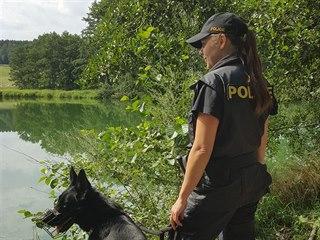 V místě nálezu utonulé poblíž rybníka nedaleko Habrů v pátek 2. srpna dopoledne...