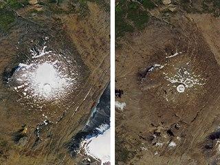Zmenšování islandského ledovce Okjökull na kombinované letecké fotografii NASA...