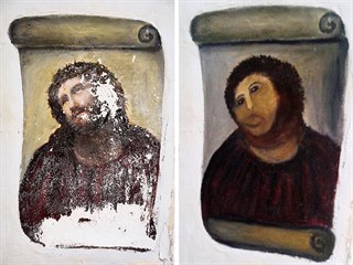 Freska Ježíše Krista z kostela ve španělském města Borja. Oprýskané barvy se...