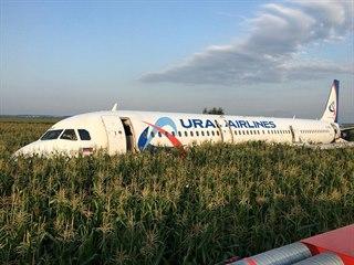 Letadlo Airbus A321 leží v kukuřičném poli u Moskvy, kde nouzově přistálo po...