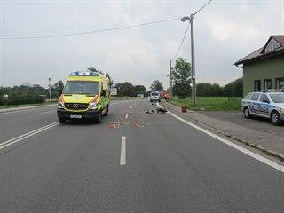 Motorista se srazil s kamionem, jeho stav je vážný.