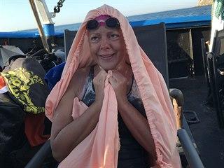 Handicapovaná plavkyně Markéta Pechová přeplavala kanál La Manche. (25. srpna...