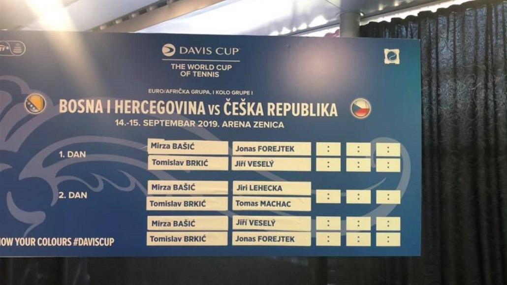Davis Cup v Bosně zahájí debutant Forejtek, po něm nastoupí Veselý