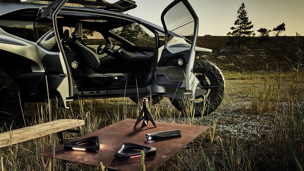 Koncept Audi připomíná výsadkový modul vesmířanů. Místo světel má drony