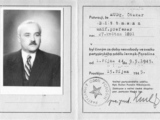 Průkaz potvrzující zapojení Otokara Bittmanna do odboje během druhé světové...