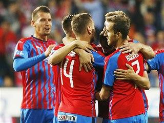 Plzeňská radost z gólu v zápase s Jabloncem