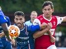 Momentka z druholigového utkání mezi Pardubicemi (v červeném) a Líšní