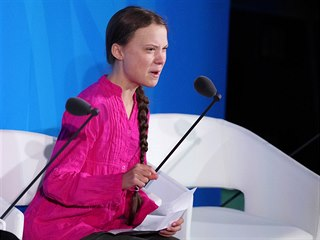 Šestnáctiletá ekologická aktivistka Greta Thunbergová vystoupila na Valném...
