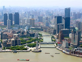 Výhled na panorama města z Shanghai Tower