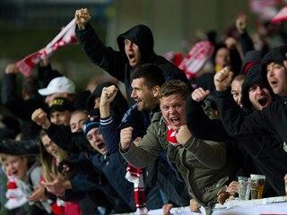 Fanoušci Slavie se radovali z výhry i v Jablonci.