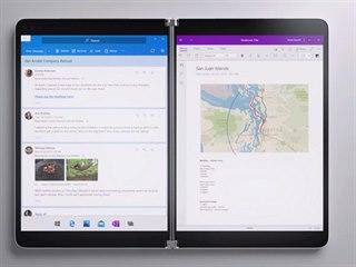 Notebook Surface Neo může na každém displeji zobrazovat jiný program nebo...