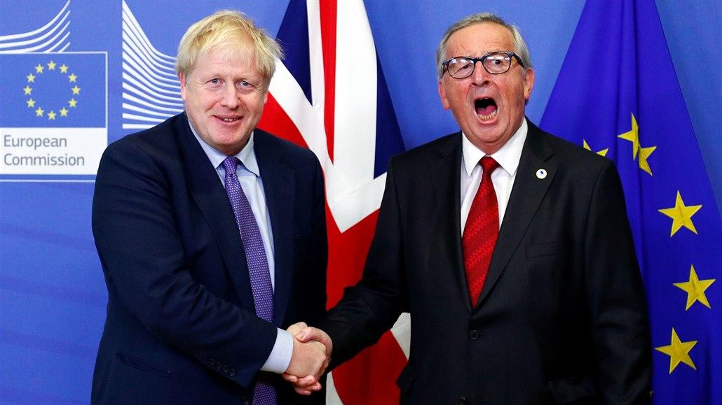 Předseda Evropské komise Jean-Claude Juncker a britský premiér Boris Johnson si...