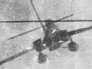Letoun Thunderstreak zachycený v zaměřovači Migu 17 PF ve chvíli, kdy ppor. De...