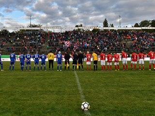 Momentka ze zápasu legend Brna a Olomouce na stadionu za Lužánkami.
