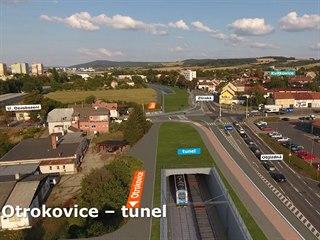 Plánovaná podoba železničního tunelu, který má ulehčit provozu na křižovatce v...