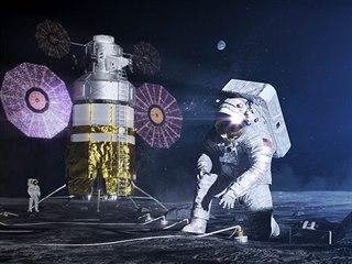 Představa výtvarníka o využití nového skafandru NASA xEMU