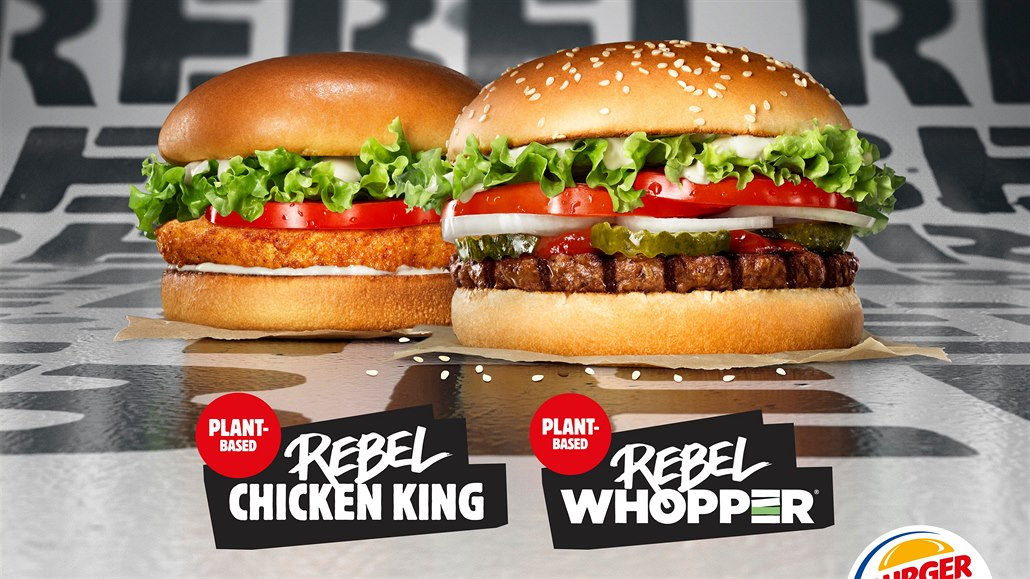 Bezmasé burgery Rebel Chicken King a Rebel Whopper