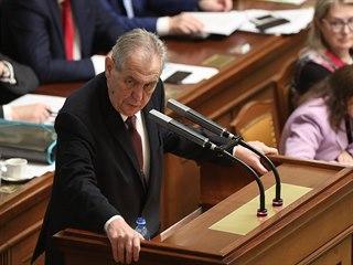 Prezident Miloš Zeman přišel do Sněmovny podpořit státní rozpočet. (23. října...