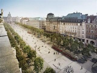 Nová vizualizace rekonstrukce Václavského náměstí s tramvajovou tratí vedenou...