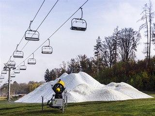 Zasněžování v lyžařském areálu Monínec (22.10. 2019)