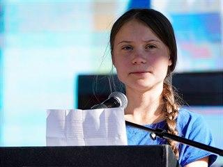 Klimatická aktivistka Greta Thunbergová pronesla řeč na protestu za větší...