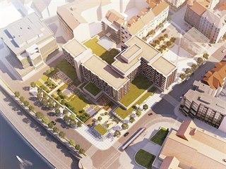 Vizualizace plánovaného prostoru v okolí pražského hotelu Intercontinental na...