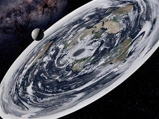 Upravený snímek, podle kterého je Země placatá. (13. listopadu 2019)
