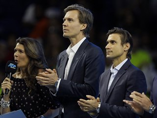Tomáš Berdych během slavnostního ceremoniálu na Turnaji mistrů, při němž byli...
