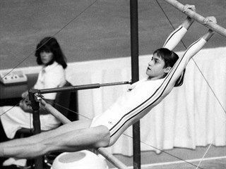 Rumunská gymnastka Nadia Comaneciová na olympijských hrách v kanadském...